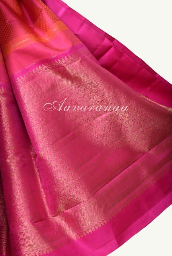 Peachish pink jacquard kanchi silk saree -17231