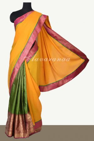 Yellow chiffon green silk fusion saree-0
