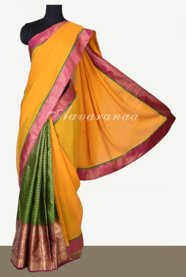 Yellow chiffon green silk fusion saree-0
