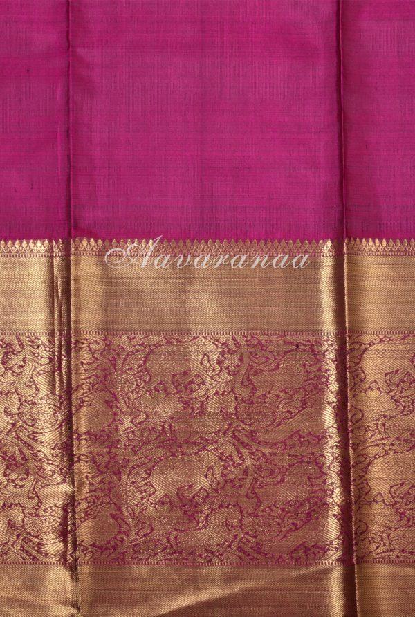 Yellow chiffon green silk fusion saree-17254