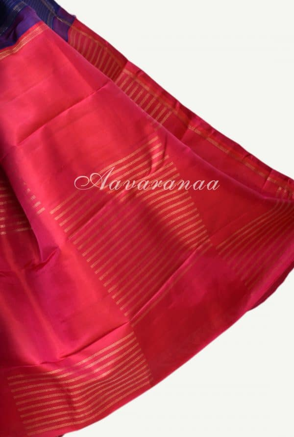 Navy blue and pink partly kanchipuram silk saree-17256