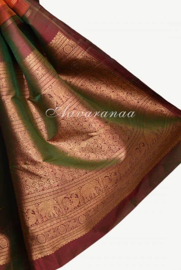 Orange pink centre border kancheepuram silk saree-17272