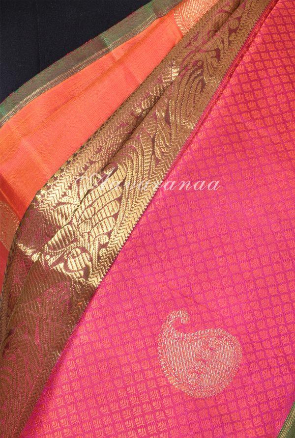 Orange pink centre border kancheepuram silk saree-17274