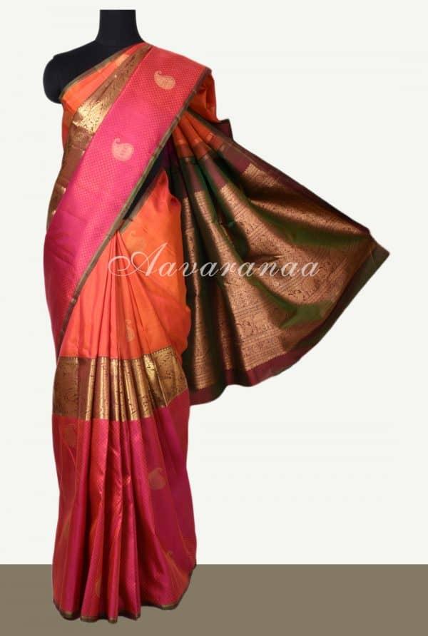 Orange pink centre border kancheepuram silk saree-0