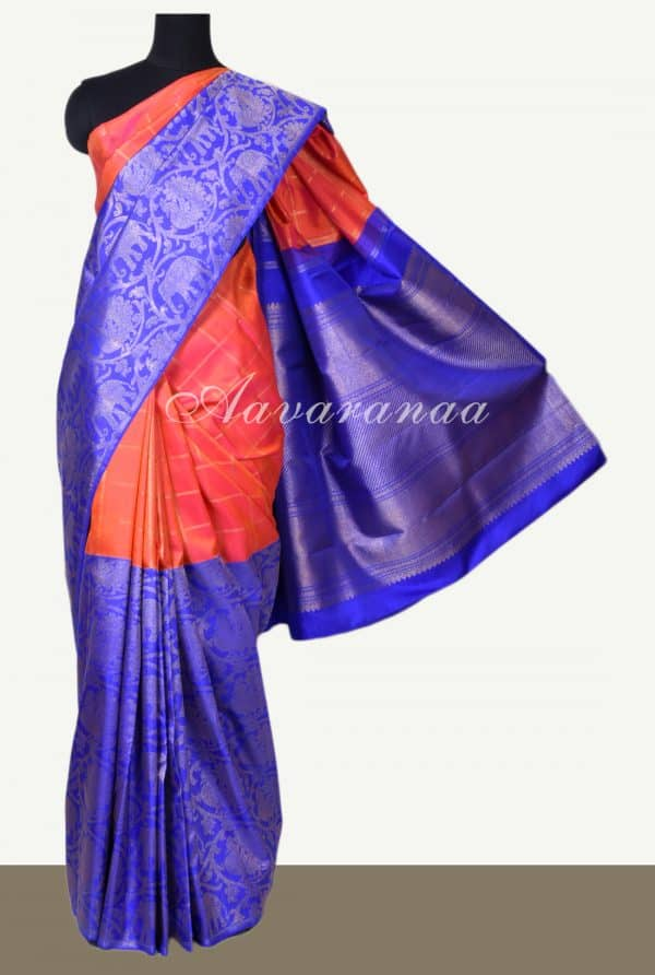 Peach royal blue kanchipuram silk saree with vansingaram-0