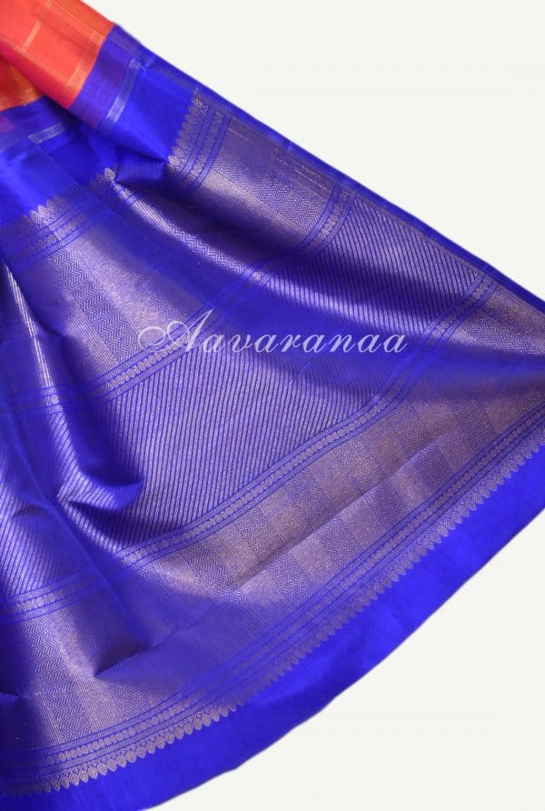 Peach royal blue kanchipuram silk saree with vansingaram-17278