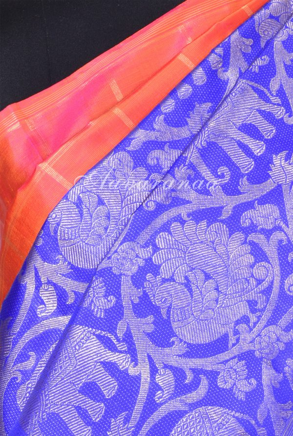 Peach royal blue kanchipuram silk saree with vansingaram-17277
