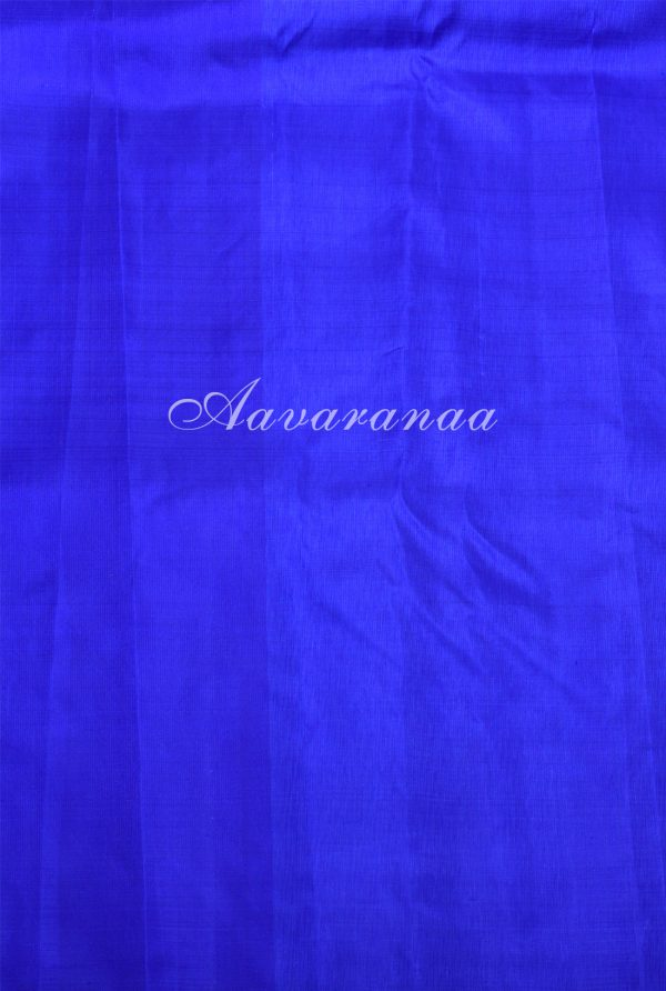Peach royal blue kanchipuram silk saree with vansingaram-17276