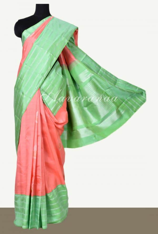 Peach kanchi silk saree with sea green border-0