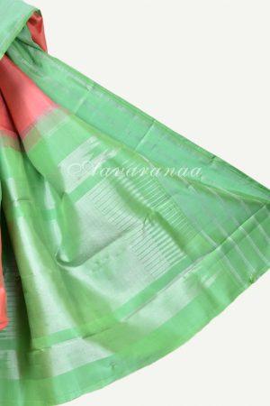 Peach kanchi silk saree with sea green border-17288