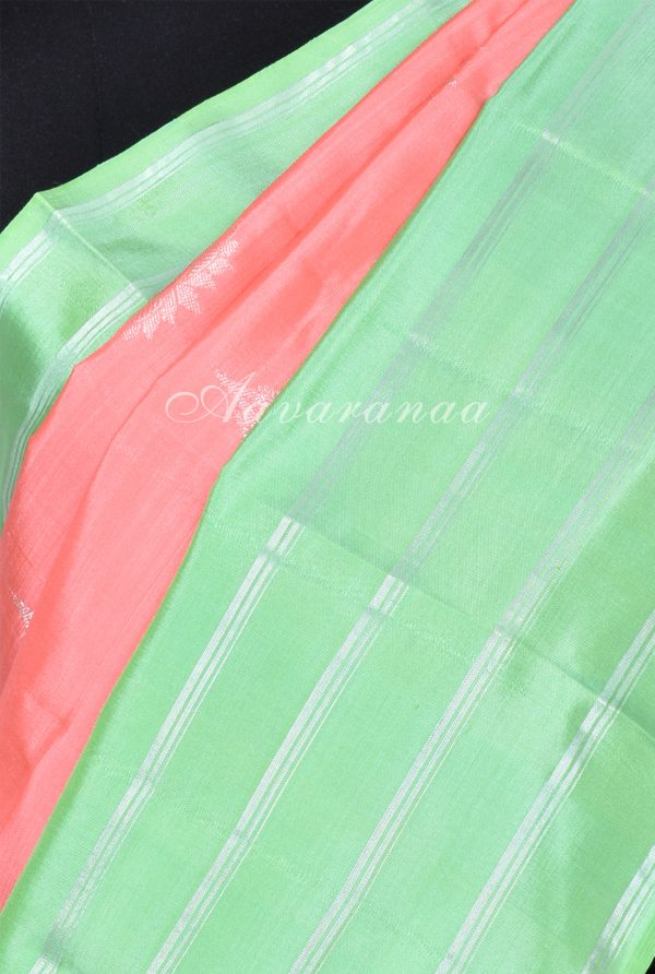 Peach kanchi silk saree with sea green border-17289