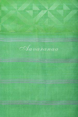Peach kanchi silk saree with sea green border-17290