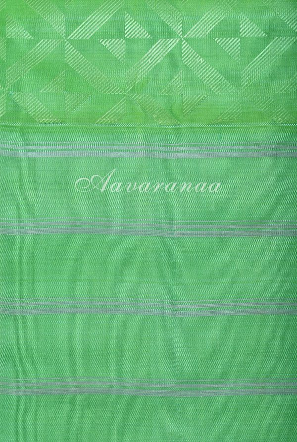 Peach kanchi silk saree with sea green border-17290