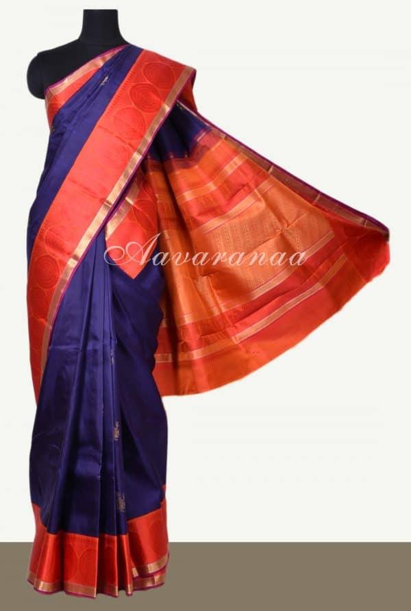 Navy blue kancheepuram silk saree with red border-0
