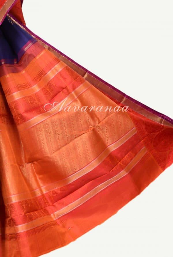 Navy blue kancheepuram silk saree with red border-17310