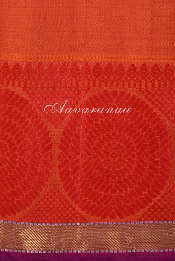 Navy blue kancheepuram silk saree with red border-17309
