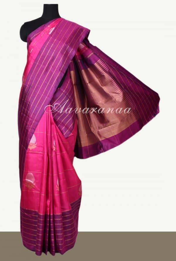 Pink kanchipuram silk saree with violet stripes border-0