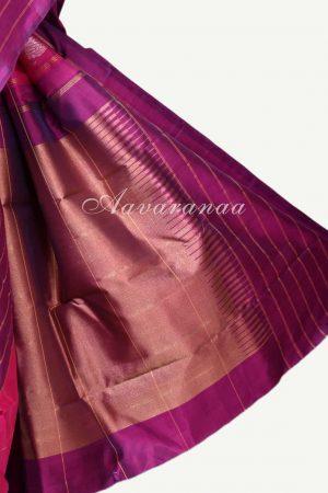 Pink kanchipuram silk saree with violet stripes border-17312