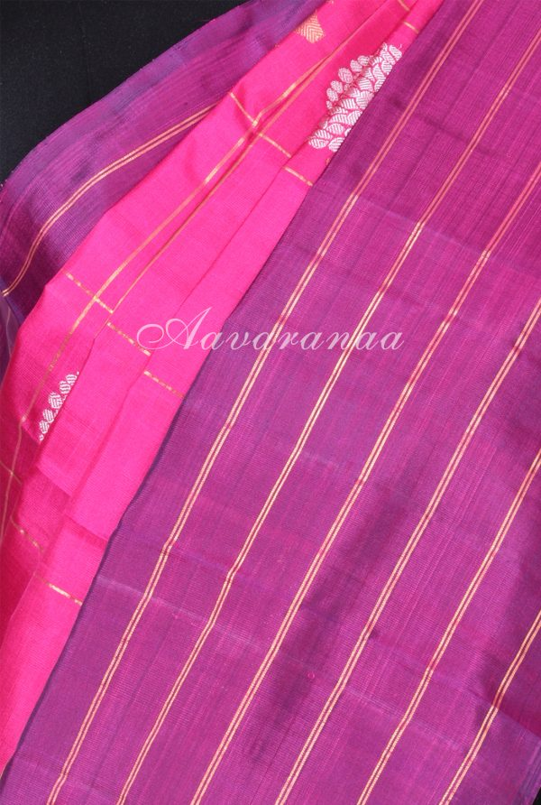 Pink kanchipuram silk saree with violet stripes border-17313