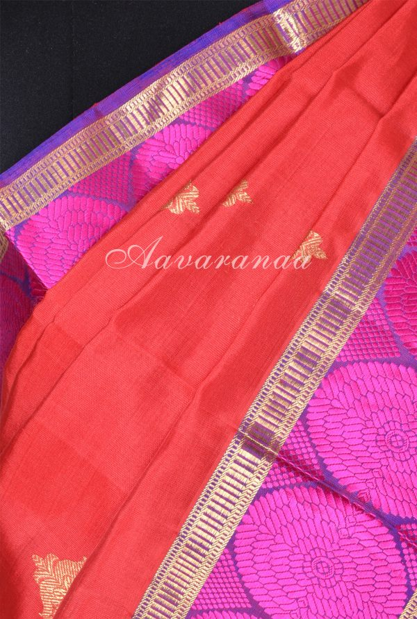 Red kanchi silk saree with majenta circle thread border-17318