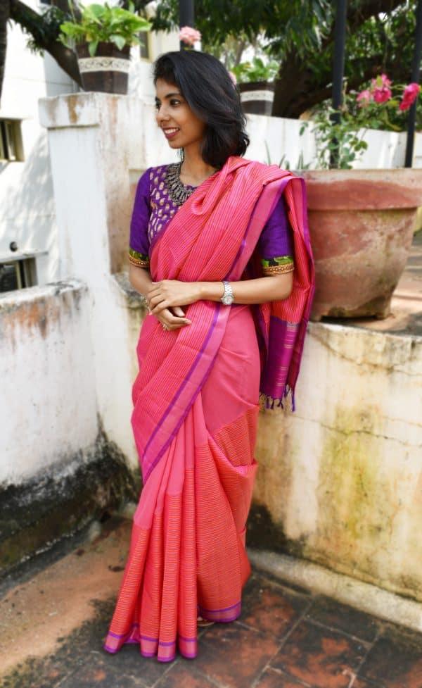 Pink chiffon and kanchi silk fusion saree-17516