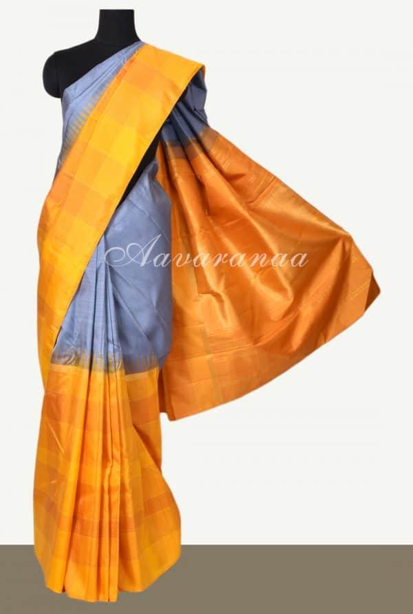 Grey yellow half half kanchipuram silk saree-0