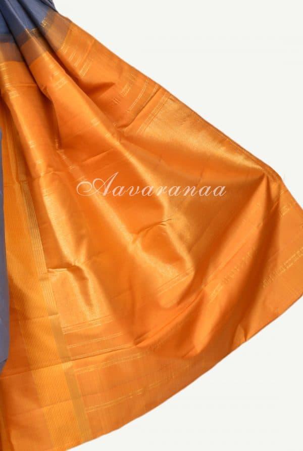 Grey yellow half half kanchipuram silk saree-17341