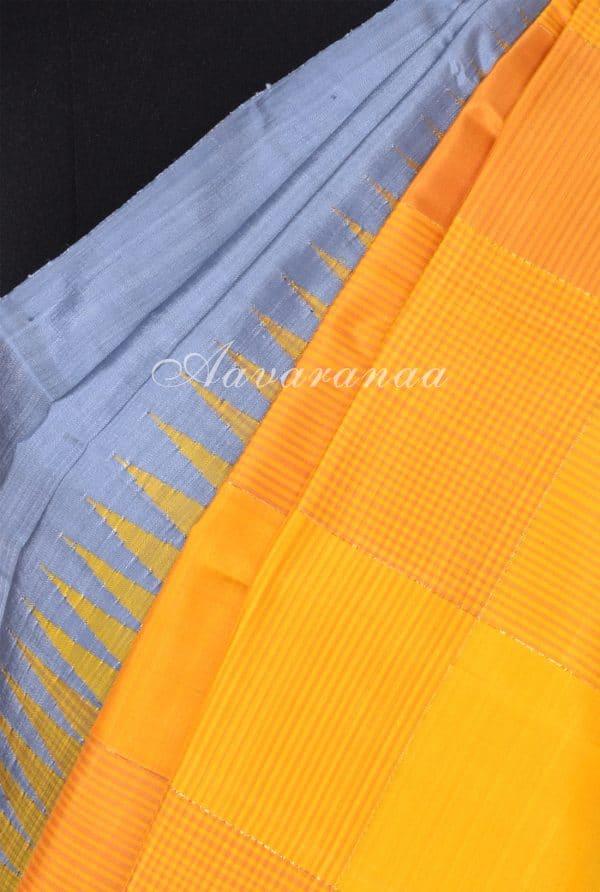 Grey yellow half half kanchipuram silk saree-17340