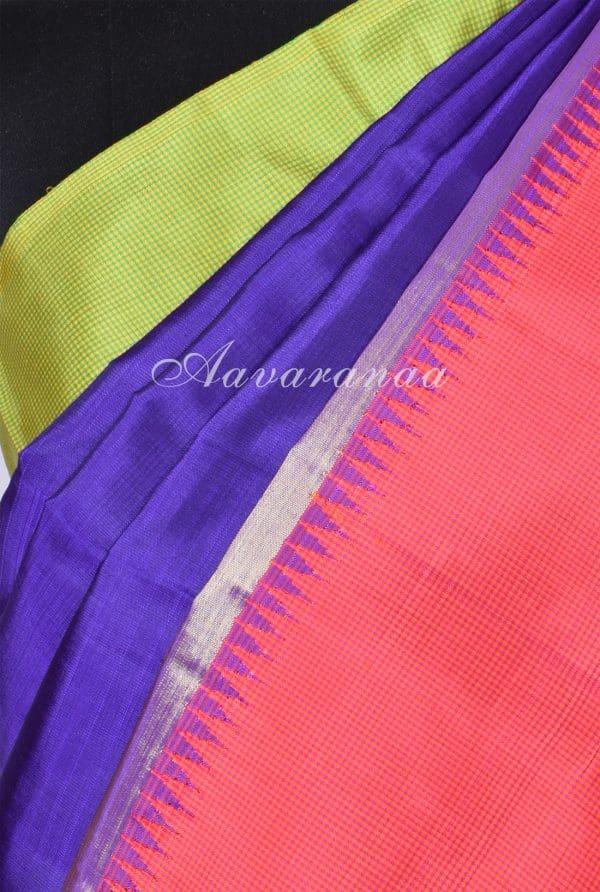 Blue pink green kanchi silk saree-17355
