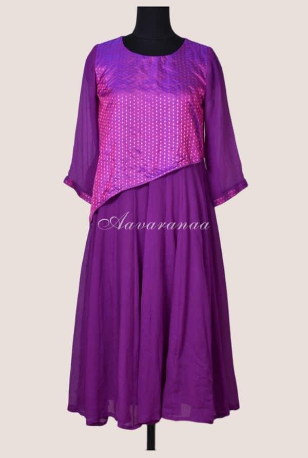 Violet chiffon dress-17110