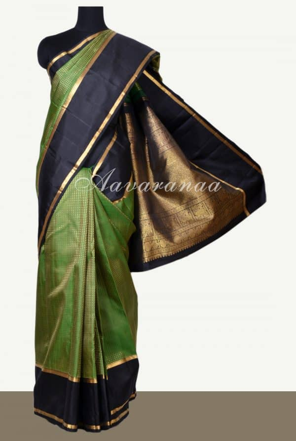Green thread woven kanchipuram silk saree -0
