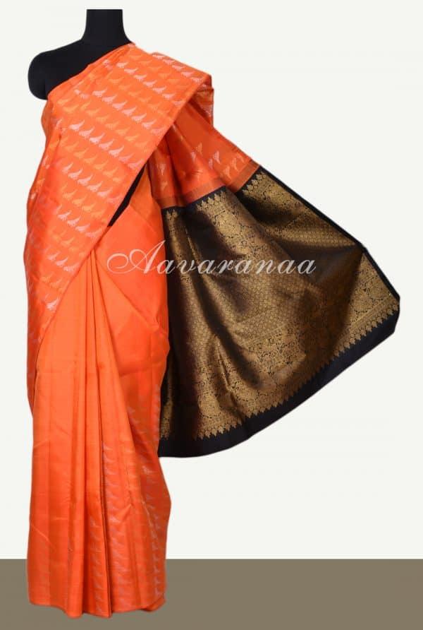 Orange bird kanchipuram silk saree-0