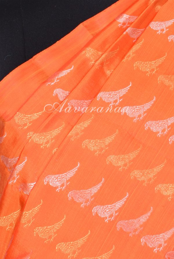 Orange bird kanchipuram silk saree-17378