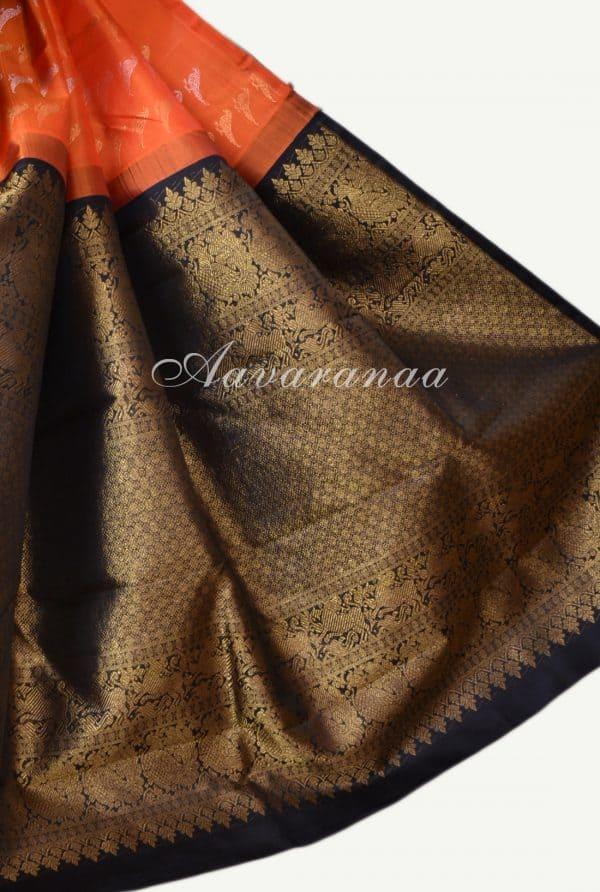 Orange bird kanchipuram silk saree-17377