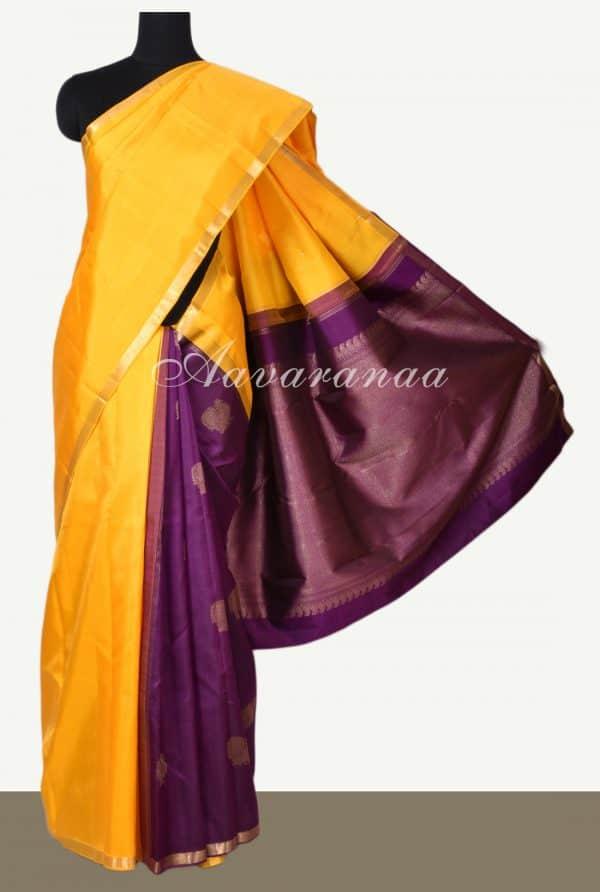 Yellow majenta partly pallu kanchi silk saree-0