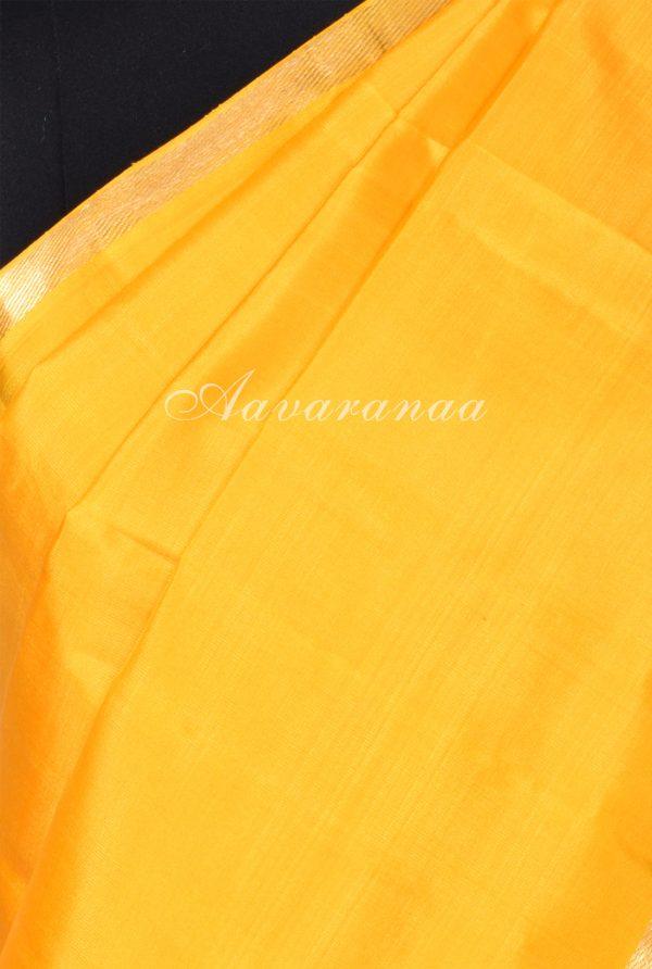 Yellow majenta partly pallu kanchi silk saree-17397