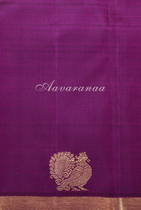 Yellow majenta partly pallu kanchi silk saree-17399