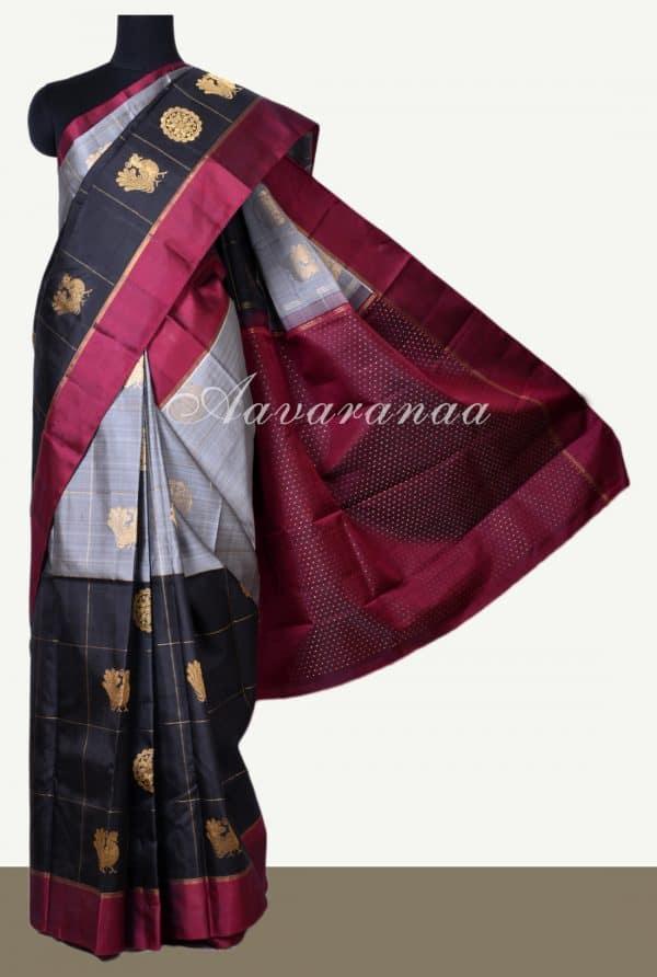Grey and black kanchi silk saree with maroon border-0