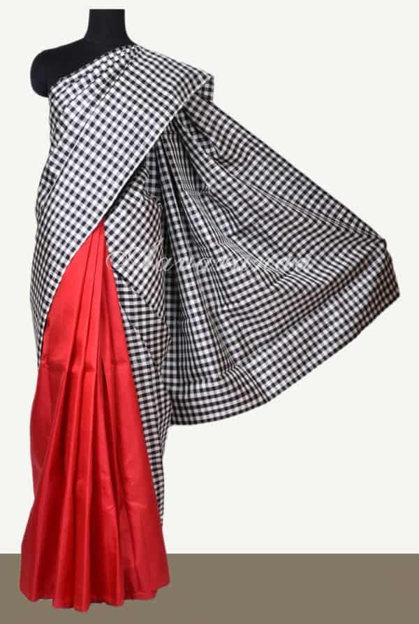 Black and white red kanchipuram silk saree-0