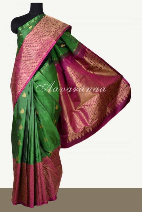 Green kancheepuram silk with dark pink one side border-0