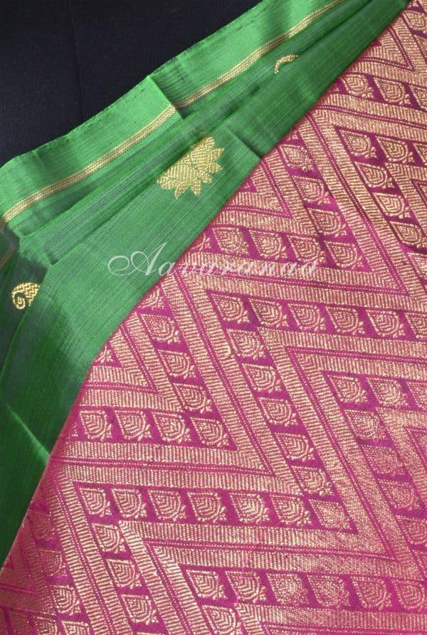 Green kancheepuram silk with dark pink one side border-17439