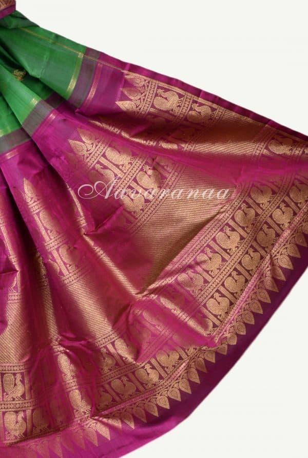 Green kancheepuram silk with dark pink one side border-17437