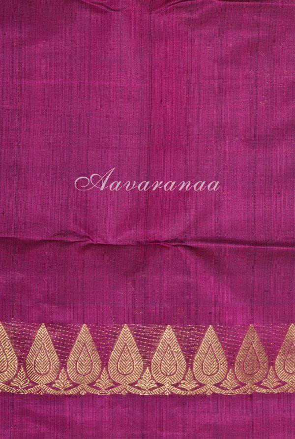 Green kancheepuram silk with dark pink one side border-17438