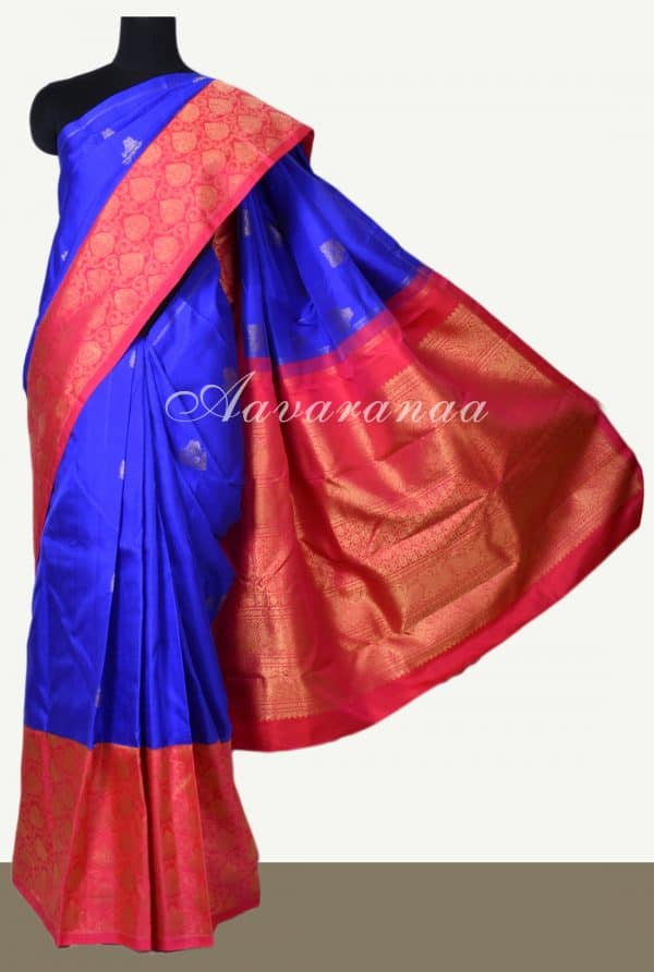 Bright blue kanchi silk saree with red one side border-0