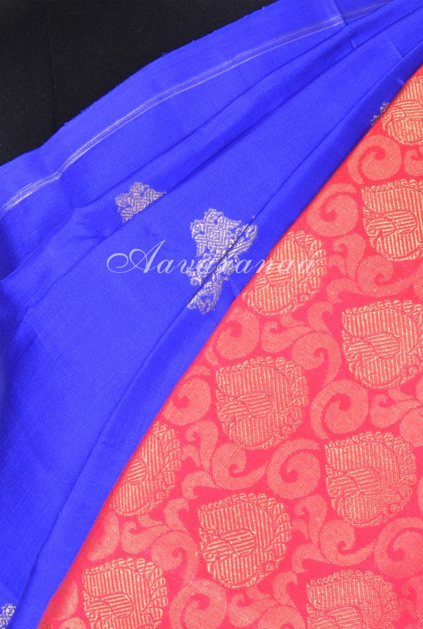 Bright blue kanchi silk saree with red one side border-17445