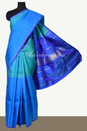 Blue green half half kanchi silk saree -0