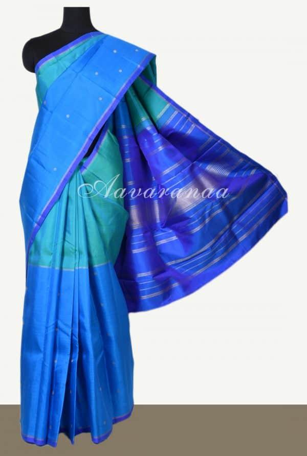 Blue green half half kanchi silk saree -0