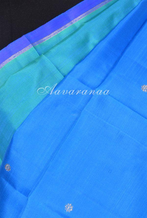Blue green half half kanchi silk saree -17493