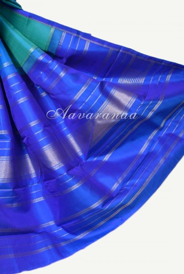 Blue green half half kanchi silk saree -17495