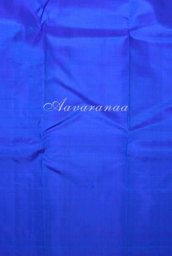 Blue green half half kanchi silk saree -17494